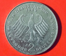 GERMANIA - 1989 - Moneta - Ludwig Erhard - Aquila - 2 Marchi  - 2 DM - [ 7] 1949-… : RFA - Rep. Fed. Tedesca
