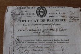 Departement  De Seine Et Oise  Certificat De Résidence   VERSAILLES - Documenti Storici