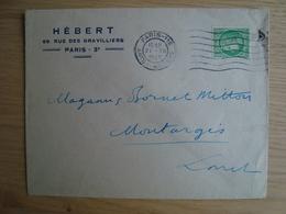 ENVELOPPE HEBERT 69 RUE DES GRAVILLIERS PARIS 1945 - Marcophilie (Lettres)