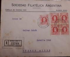O) 1926 ARGENTINA, SAN MARTIN SC 359 SC 5c, SOCIEDAD FILATELICA ARGENTINA, REGISTERED TO LAVALLE, XF - Argentina