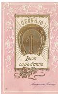 CARD  IN RILIEVO BUON CAPO D'ANNO 1 GENNAIO IN FERRO DI CAVALLO DORATO QUADRIFOGLIO DORATO    -FP-V-2-0882-29393 - Anno Nuovo