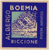 Riccione, Riviera Adriatica - Italia Italie Italy - Hotel Albergo Boemia - Luggage Label Etiquette Valise - Hotel Labels