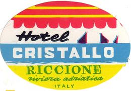 Riccione, Riviera Adriatica - Italia Italie Italy - HOTEL CRISTALLO - Luggage Label Etiquette Valise - Hotel Labels