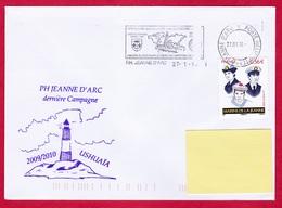 3049 Marine, PH Jeanne D'Arc, GEAOM 2009-2010, Escale à Ushuaïa, Oblit. Mécanique PH Jeanne D'Arc, Les Marins De La Jean - Naval Post
