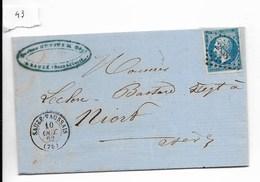 Lettre Napoléon 20 C Non Dentelé, Losange 2838, Sauzé-Vaussais Vers Niort 1862 - 1849-1876: Periodo Classico