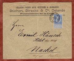 Vordruckbrief, Koenig Leopold, Ostende Nach Nakel 1896 (89569) - 1893-1900 Thin Beard