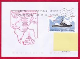 3079 Marine, Frégate Courbet, GEAOM 2009-2010, Cachet Mission GEAOM, Oblit. Toshiba 05505A Quimper, Timbre Jeanne D'Arc - Correo Naval