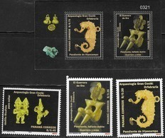 PANAMA, 2018, MNH,ARCHAEOLOGY, GOLD ARTIFACTS, SEAHORSES, WARRIORS, BIRDS, 3v+SHEETLET - Archaeology