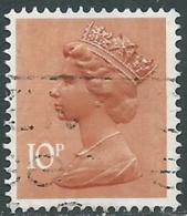 1976 GRAN BRETAGNA USATO EFFIGIE REGINA ELISABETTA II 10 P - RC4-2 - 1952-.... (Elisabetta II)