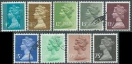 1979-80 GRAN BRETAGNA USATO EFFIGIE REGINA ELISABETTA II 9 VALORI - RC4-9 - 1952-.... (Elizabeth II)