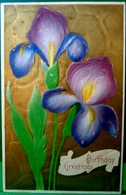 CPA FLEURS ,gaufrée , 2 IRIS Sur FOND Doré , BLUE PURPLE IRISE FLOWERS Golden Back Embossed OLD PC - Flowers