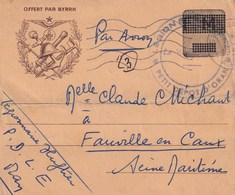 Correspondance Militaire Offert Par BYRRH D'un Légionnaire à ORAN  Vers FAUVILLE EN CAUX Timbre F.M 1956 - 1939-45