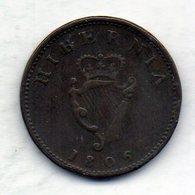 IRLANDE, 1 Farthing, Copper, Year 1806, KM #146 - Irlanda