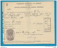 """Timbre Fiscal """"QUITTANCE"""" Sur Recu De La Fabrique Générale De RENNES (Ille Et Vilaine). 1903 - 1877-1920: Periodo Semi Moderno"""