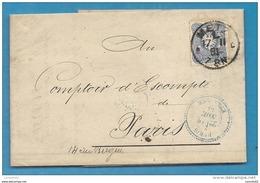 Lorraine Sous Occupation Allemande - Metz (Moselle) Pour Paris. 1881. Oblitération Perlé Bleu PARIS ETRANGER - Marcophilie (Lettres)