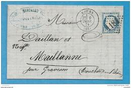 Rhone - Cours Pour Maillane Par Graveson (Bouches Du Rhone). LAC De 1874 - Marcofilia (sobres)