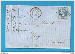 Saone Et Loire - CHARETTE Pour GRAY. (Haute Saone). GC + CàD Type 15 De PIERRE - 1849-1876: Periodo Classico