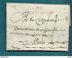 Aveyron - Villefranche Pour Paris. LAC De 1799. - Marcophilie (Lettres)