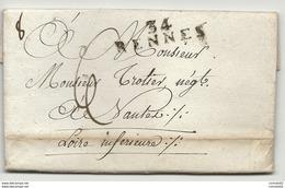 Ille Et Vilaine - Rennes Pour NANTES. Cachet D'arrivée De NANTES. 1807 - Marcophilie (Lettres)