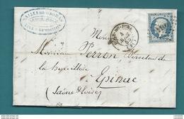 Jura - Dole Du Jura Pour Epinac. LAC De 1855. YT14, Belle Nuance - Storia Postale