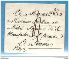 Moselle - Metz Pour Le Regisseur De La Manufacture St Maurice à  Senonnes (Vosges). LAC De 1822 - 1801-1848: Précurseurs XIX