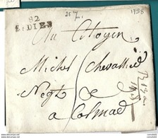 Vosges - Saint Dié Pour Colmar. LAC De 1798 - Marcofilia (sobres)