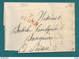 Ardennes - Sedan Pour Sedan. Lettre Locale. 1822 - Postmark Collection (Covers)