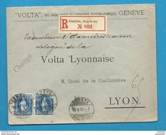"""Suisse - YT73 (x2) Sur Lettre Chargée De GENEVE Pour LYON"""". 1901.  VOLTA - 1882-1906 Armoiries, Helvetia Debout & UPU"""