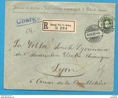 """Suisse - YT72 Sur Lettre Chargée De BALE (Basel) Pour LYON"""". 1903.  VOLTA - 1882-1906 Armoiries, Helvetia Debout & UPU"""