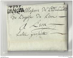 Saone Et Loire - Chalons Sur Saone Pour L'hospice De Lyon. LAC En Port Payé De 1808. Cote 55eruos - 1701-1800: Precursori XVIII