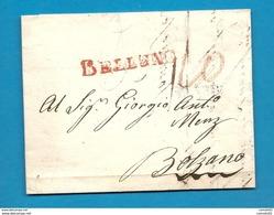 ITALIE / ITALIA -   Lettre De BELLUNO (Vénétie) Pour BOLZANO (Autriche) -1819 - ...-1850 Voorfilatelie