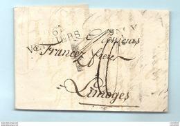 Département Conquis De L'Ourthe - Verviers Pour Limoges. LAC De 1812 - Marcophilie (Lettres)