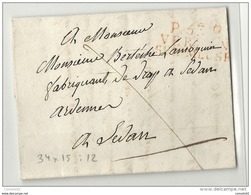 Meuse - Verdun Pour Sedan (Ardennes) - LAC En Port Payé. MP 34*15. Indice 12 - 1801-1848: Precursori XIX