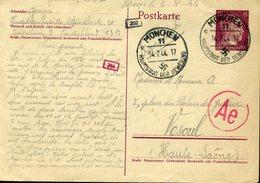 Entier Postal HITLER Français En Allemagne Texte!!! 14 Juil 44 MUNICH HAUPSTSADT DER BEWEGUNG Capitale Du Mouvement Nazi - Duitsland