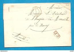 Moselle - Metz Pour Mareville (Meurthe). CàD Type 15 ROUGE + PP Rouge. 1848 - 1801-1848: Précurseurs XIX