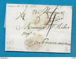 Moselle - Metz Pour Ste Marie Au Mine. LAC De 1785. Taxée 4 Puis 6; - 1701-1800: Précurseurs XVIII