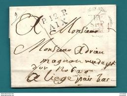 Bouches Du Rhone - Aix Pour Liège (Belgique). Pas Courant - 1801-1848: Précurseurs XIX