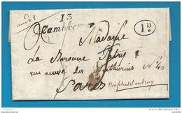 Calvados - Cambremer Pour La Baronne Potry Pr Paris Redirigée à Neufchatel En Bray écrite Par Le Vicomte De Beaurepaire - 1801-1848: Précurseurs XIX