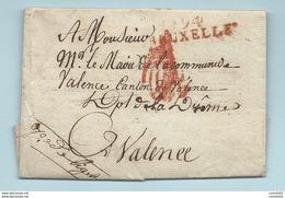 Département Conquis De La Dyle - Bruxelles Pour Valence (Drome). Lettre En Franchise. HOPITAL MILITAIRE DE LILLE - Marcophilie (Lettres)