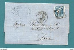 Cérès émission De Bordeaux YT#46 S/lettre De BAYONNE Pour PARIS - 28.03.1871 : 1er Jour Du Blocus Postal Sous La COMMUNE - Marcophilie (Lettres)