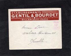 LSC  - Entête Etablissements GENTIL & BOURDET - BILLANCOURT PARIS - EMA - Marcophilie (Lettres)