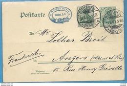 Allemagne - Entier Postale De BEUTHEN Pour ANGERS (MAine Et Loire) - 1907 - 1877-1920: Periodo Semi Moderno