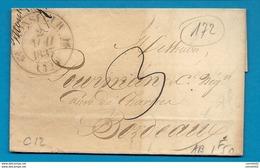 Gironde - Monségur Pour Bordeaux. CàD Type 12 + Taxe 3 - 1801-1848: Précurseurs XIX