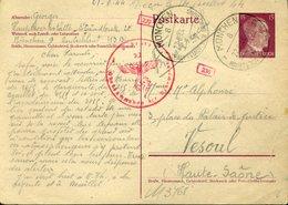 Entier Postal HITLER Français En Allemagne Texte!!! 22 6 44 MUNICH HAUPSTSADT DER BEWEGUNG Nazi Croix Gammée CENSURE - Storia Postale
