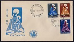 Ce0027 KATANGA 1960,  SG 35-37 Madonna  FDC - Katanga