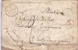 FRANCE LETTRE DE 1845 ISÈRE ENTRE DEUX GUIERE TAMPON A DATE SASSENAGE - Storia Postale