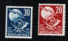 1949 4. Okt UPU Rheinland-Pfalz Mi DE-FRP 51 - 52 Yt DE-FRP 50 - 51 Sg DE-FR 51 - 52  Postfr. Xx - Zone Française