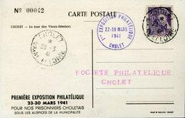CHOLET MAINE ET LOIRE 23 Mars 1941 EXPOSITION PHILATELIQUE POUR LES PRISONNIERS CHOLETAIS - 1921-1960: Periodo Moderno