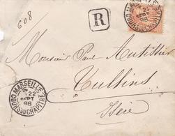 FRANCE LETTRE DE 1898 AVEC TIMBRE DE 40 C PAIX ET COMMERCE TYPE SAGE TAMPON A DATE MARSEILLE - Storia Postale
