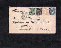 LSC 1898 - Cachets HANOI - TONKIN Sur YT 3 & YT 6 & YT 8 - Au Dos Cachet MOURMELON Le GRAND (Marne) - Briefe U. Dokumente